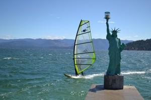 Statue and Windsurfer on Lake Pend Oreille